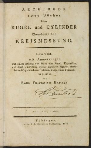 Archimedes - Archimeds zwey Bücher über Kugel und Cylinder ...