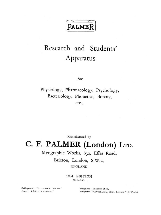 Palmer Research and Students' Apparatus for Physiology