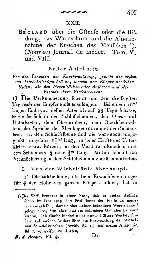 Béclard - Über die Osteose oder die Bildung, das Wachsthum und die ...