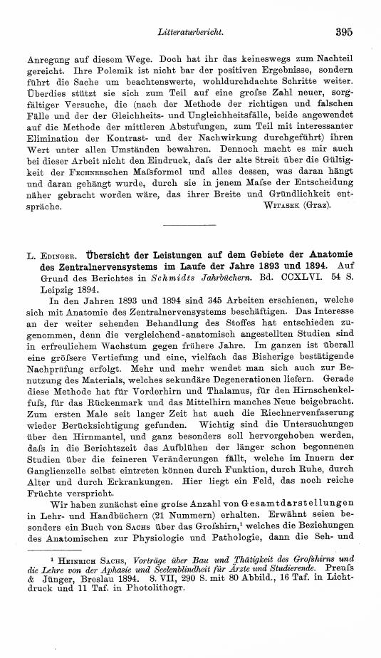 Anonymous - L. Edinger: Übersicht der Leistungen auf dem Gebiete der ...