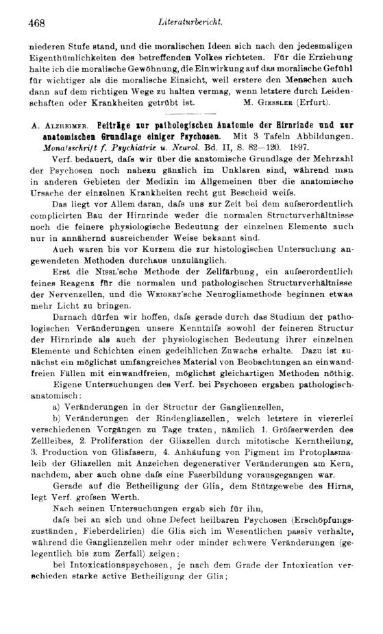 Schröder - A. Alzheimer: Beiträge zur pathologischen Anatomie der ...
